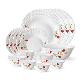 Larah By Borosil Red Lily Opalglass Dinner Set, 26 Pieces